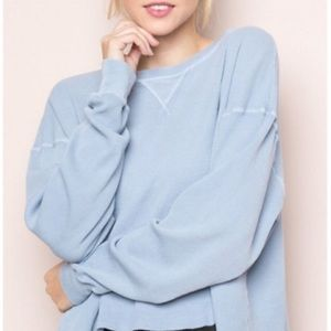 Brandy Melville Blue Laila Thermal Top